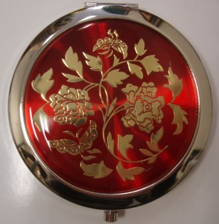 Purse Handbag Double Compact Cosmetic Mirror - Flower - Red