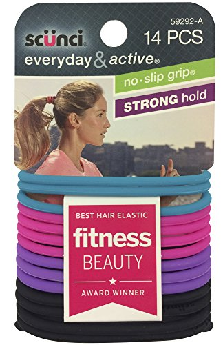 Scunci No Slip Grip Evolution Jelly Ponytailers, Strong Hold, Assorted Colors, 14 Pcs Per Pack (1 Pa