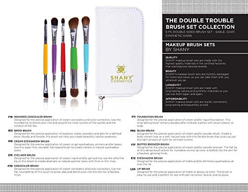 Shany The Double Trouble   5 Pc Double Sided Essential Brush Set With Travel Pouch