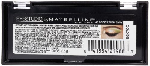Maybelline New York Eye Studio Color Plush Silk Eyeshadow, Green with Envy 40, 0.09 Ounce