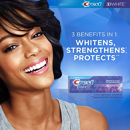 Crest 3 D White Toothpaste Radiant Mint (3 Count Of 4.1 Oz Tubes), 12.3 Oz Packaging May Vary