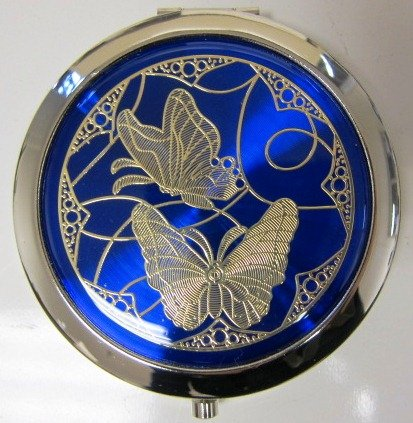 Purse Handbag Double Compact Cosmetic Mirror - Two Butterflies - Dark Blue