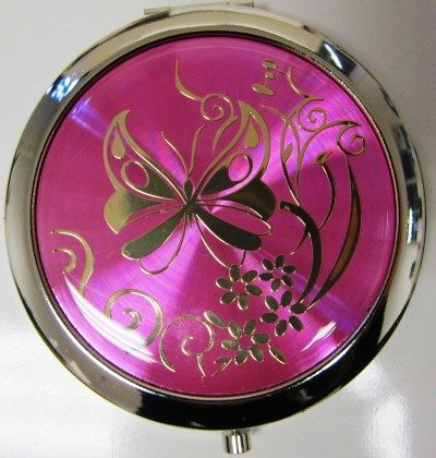 Purse Handbag Double Compact Cosmetic Mirror - Butterfly - Hot Pink