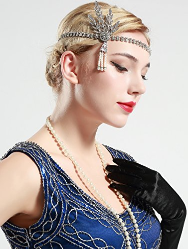 BABEYOND 1920's Flapper Headband Great Gatsby Inspired Headpiece 1920s Flapper Gatsby Accessories Art Deco Hair Accessories Headband (Silver)
