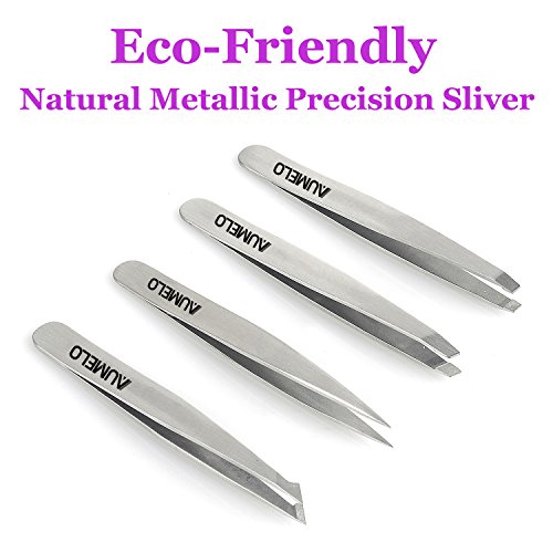 Tweezers Set 4 Piece   Aumelo Professional Stainless Steel Slant Tip And Pointed Eyebrow Tweezers