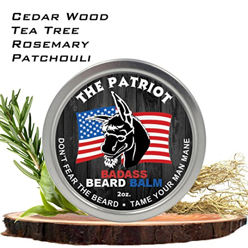 Badass Beard Care Beard Balm   The Patriot Scent, 2 Ounce   All Natural Ingredients, Keeps Beard And