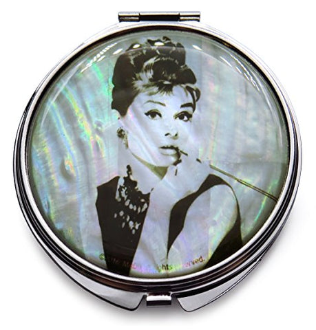 Mad Design Mother Of Pearl Audrey Hepburn Makeup Mirror Dual Compact Folding Magnify White