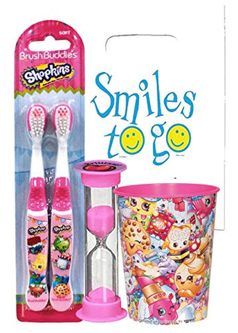 Shopkins Inspired 4pc Bright Smile Oral Hygiene Bundle! 2pk Manual Toothbrush, Brushing Timer & Mouthwash Rise Cup! Plus Dental Gift Bag & Tooth Saver Necklace!