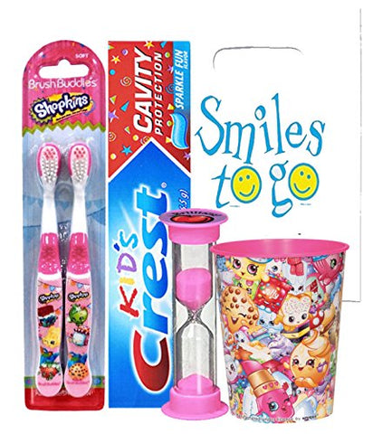 Shopkins 5pc Bright Smile Oral Hygiene Bundle! 2pk Manual Toothbrush, Toothpaste, Brushing Timer & Mouthwash Rise Cup! Plus Dental Gift Bag & Tooth Saver Necklace!