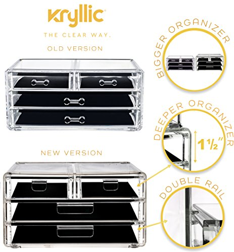 Kcrylic Drawer Organizer - Clear Make up Organizer with 4 Box Drawers Hold Creams Lotions Nailpolish Lipstick Makeup Brush!
