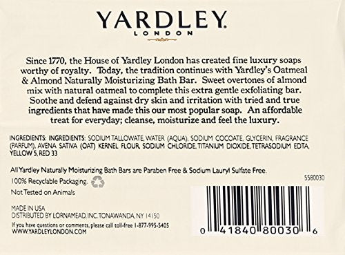 Yardley London Oatmeal and Almond Naturally Moisturizing Bath Bar, 4.25 oz. (Pack of 8)