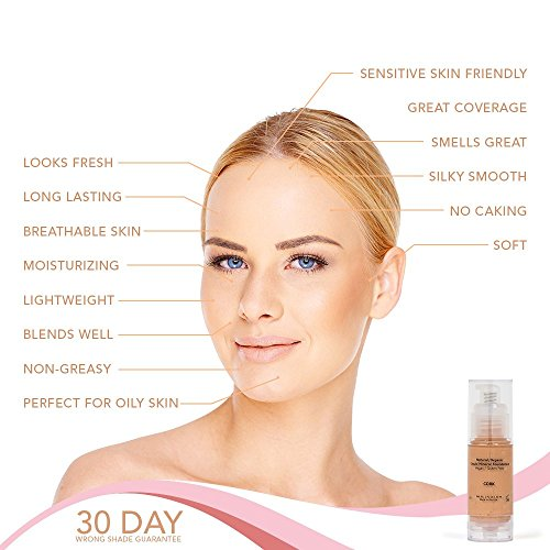 Shimarz Light Medium Liquid Foundation Makeup   Aloe Based, Plant Extracts, Non Gmo, No Oil/Paraben,