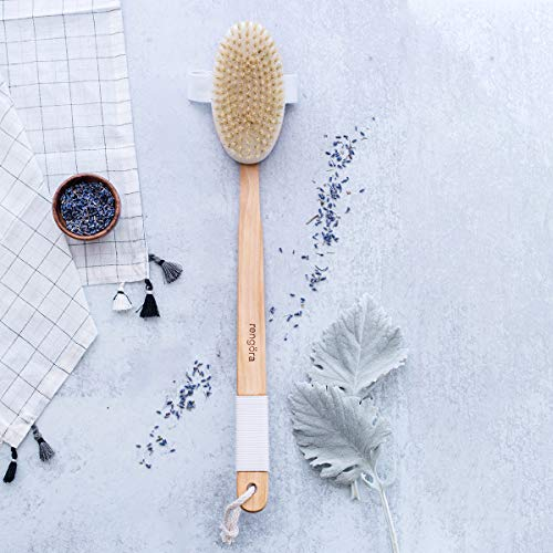 Back Scrubber For Shower   Back Brush   Long Handled Curved Wooden Bath + Shower Brush By Rengã¶Ra.