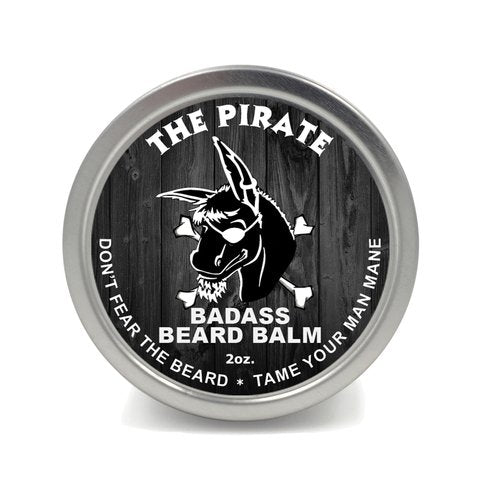 Badass Beard Care Beard Balm   The Pirate Scent, 2 Ounce   All Natural Ingredients, Keeps Beard And