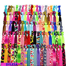Image of Syleia 100 Hair Ties - Printed Patterns and Solid Colors - Plus One Bonus Hair Tie - Elastic Ponytail Holders No Crease Hand Knotted Fold Over Assorted 100 Pack