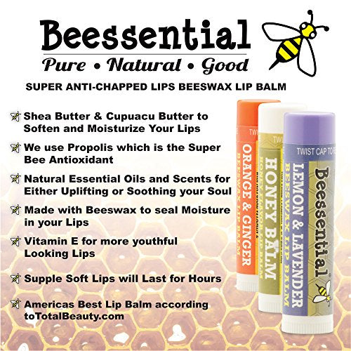 Beessential All Natural Lemon Lavender Lip Balm 2 Pack   Voted Best For Dry And Chapped Lips â?? Gre