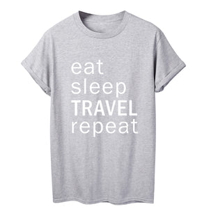 ONSEME eat sleep Travel repeat Holiday Friends t shirt - Try Adventure Shop