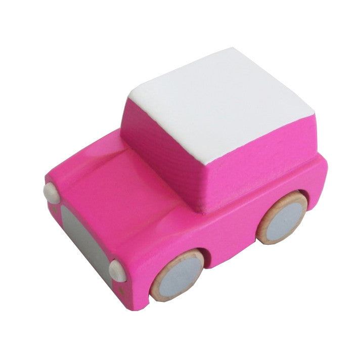 Pink Japanese Wooden Toy Car