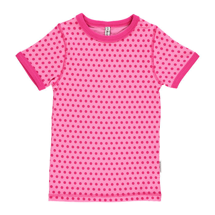 Polka Dots Pink Slim Short Sleeve Tee
