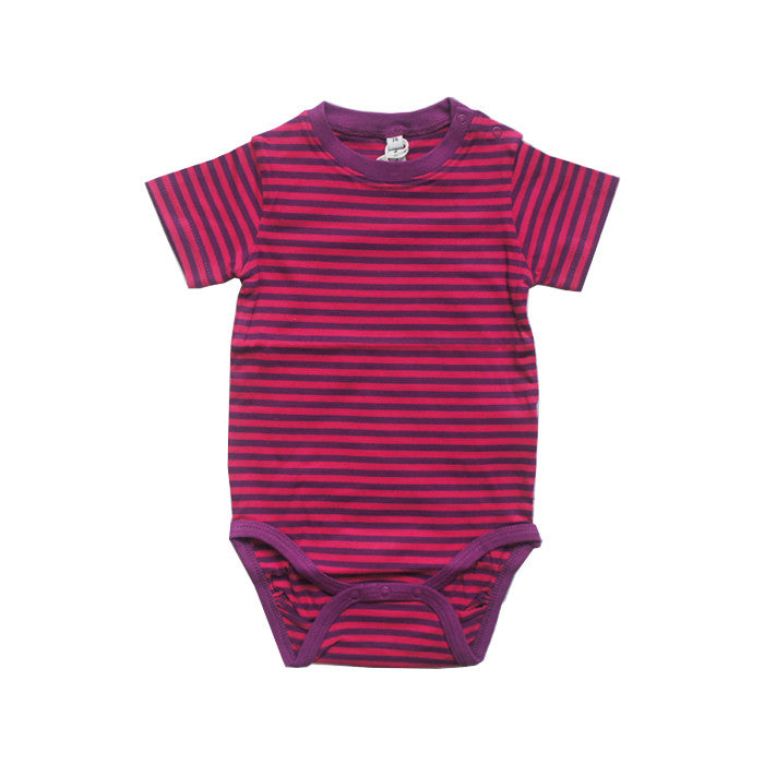 Pink Striped Short Sleeve Bodysuit