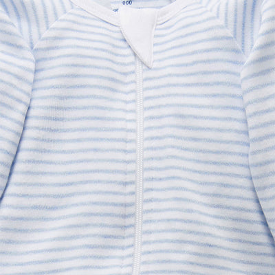 Essentials Zip Growsuit in Pale Blue Melange Stripe