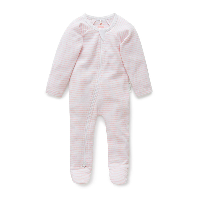 Pale Pink Melange Stripe Zip Growsuit
