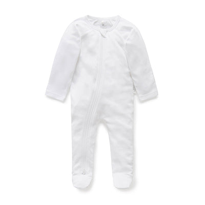 Essentials Zip Growsuit in White