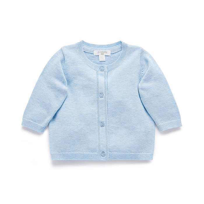 Essentials Cardigan in Pale Blue Melange