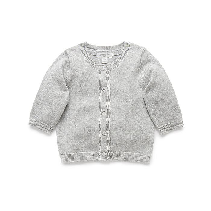 Essentials Cardigan in Pale Grey Melange
