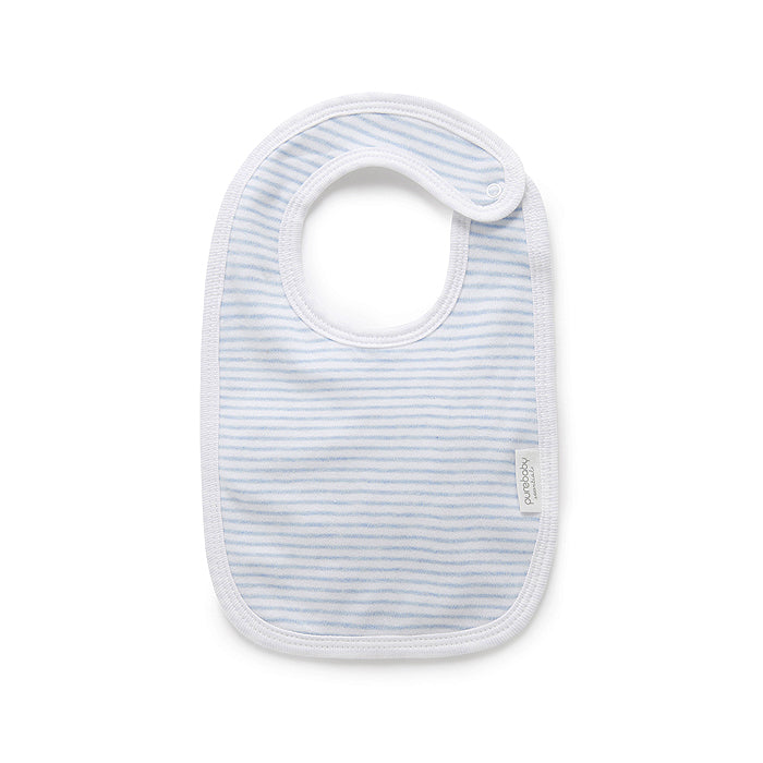 Essentials Organic Bib in Pale Blue Melange Stripe
