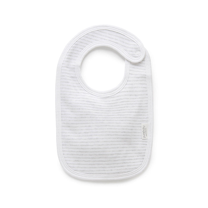 Essentials Organic Bib in Pale Grey Melange Stripe