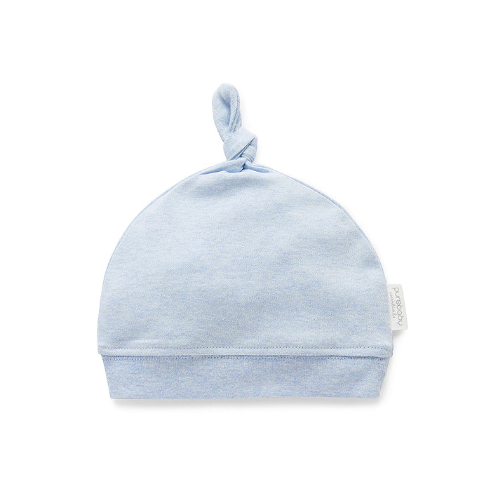 Knot Hat in Pale Blue Melange