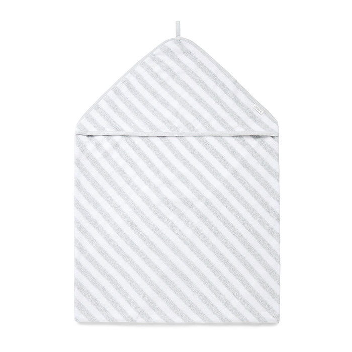 Hooded Towel in Pale Grey Melange Stripe