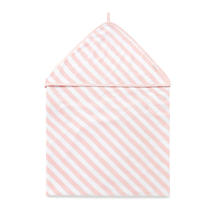 Hooded Towel in Pale Pink Stripe
