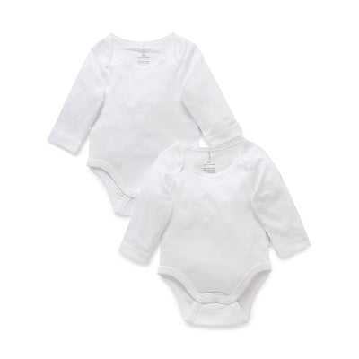 Essentials Easy Neck Long Sleeve Bodysuit in White