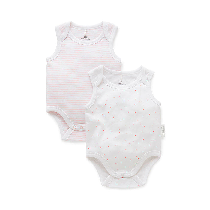 Essentials 2-Pack Singlet Bodysuit in Pale Pink