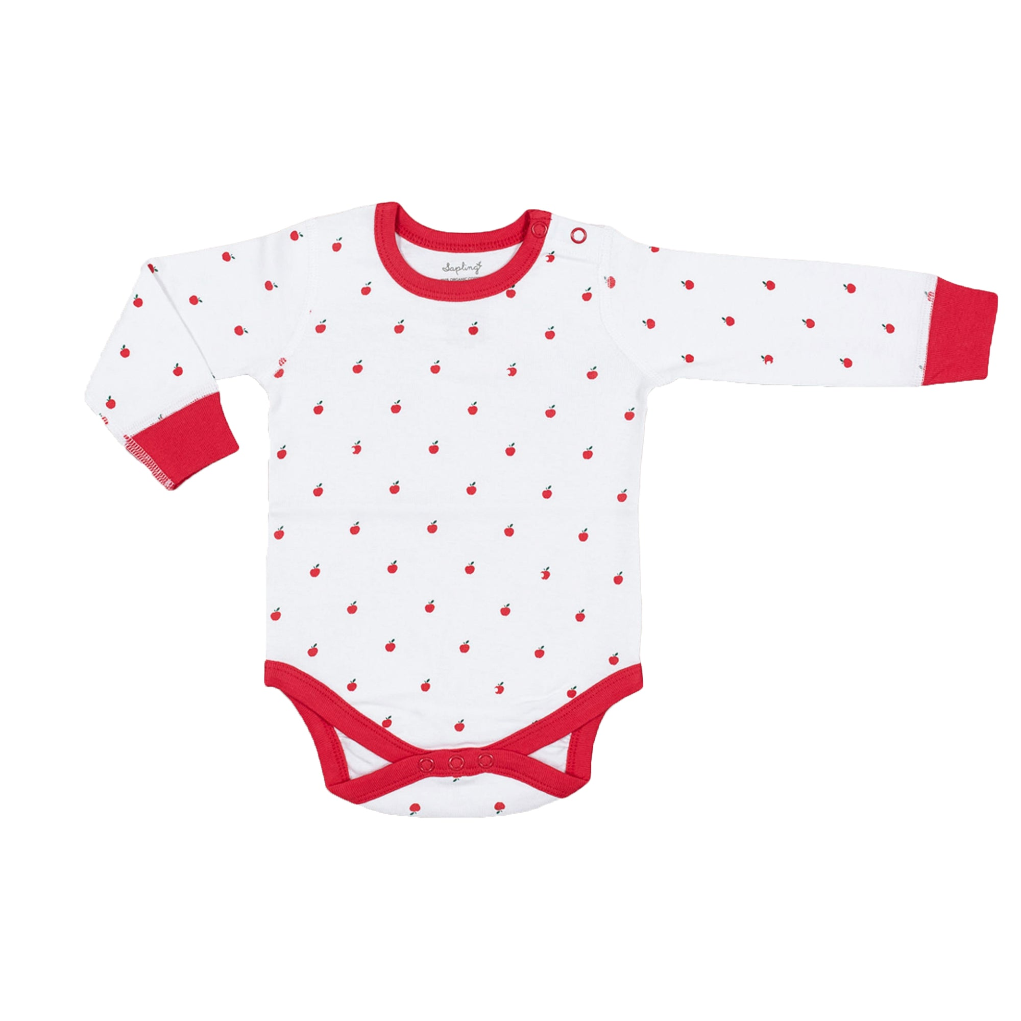 Sapling Organic Cotton soft apple long sleeve bodysuit for baby
