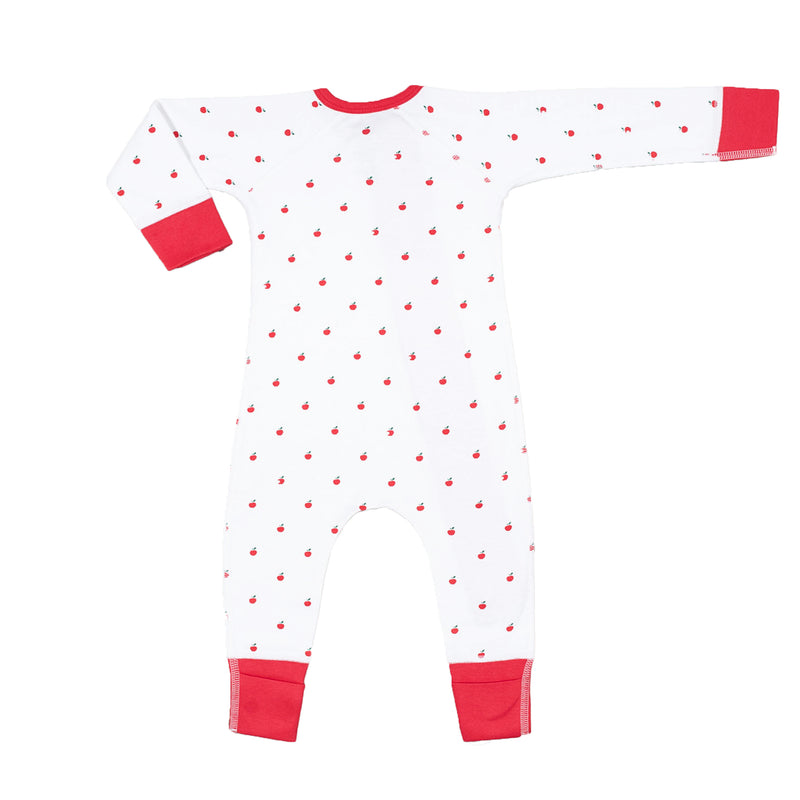 Sapling Organic Cotton soft apple zip romper for baby