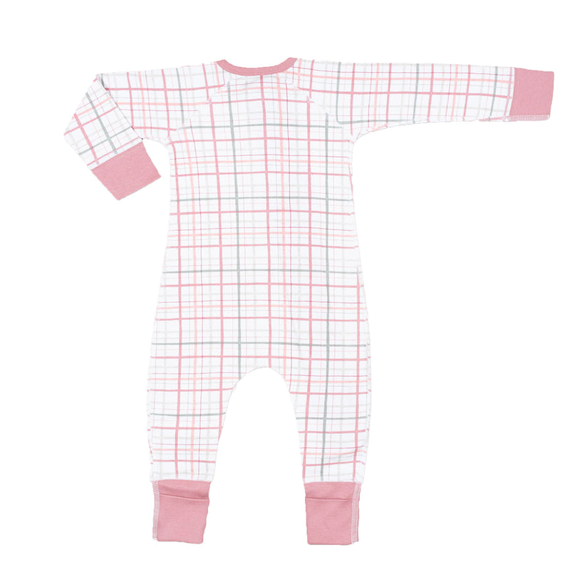Sapling organic cotton blush plaid zip romper for baby
