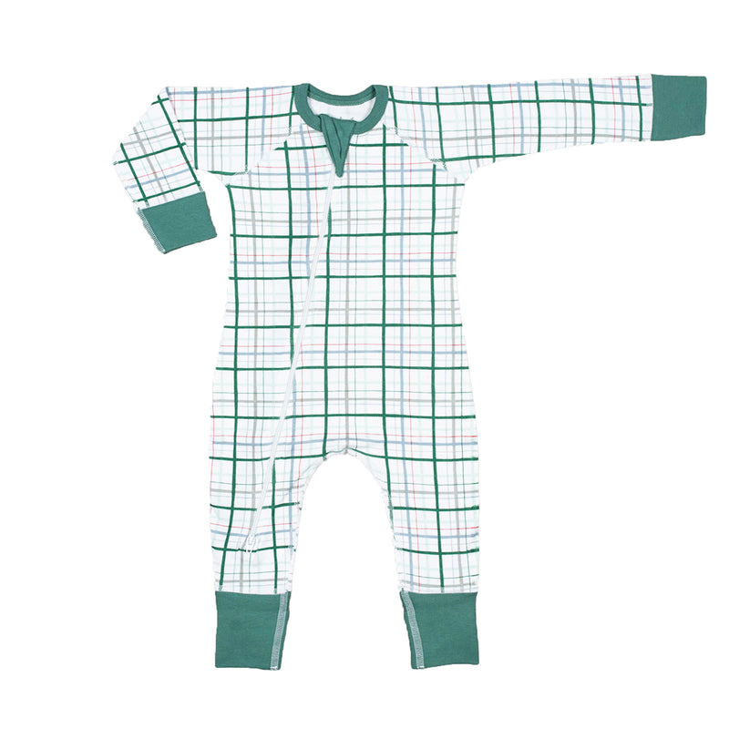 saplingchild organic cotton baby wear spruce plaid green zip romper