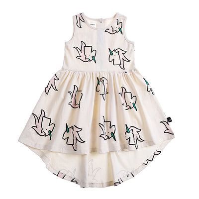 anarkid organic girls kids unicorn sleeveless dress white