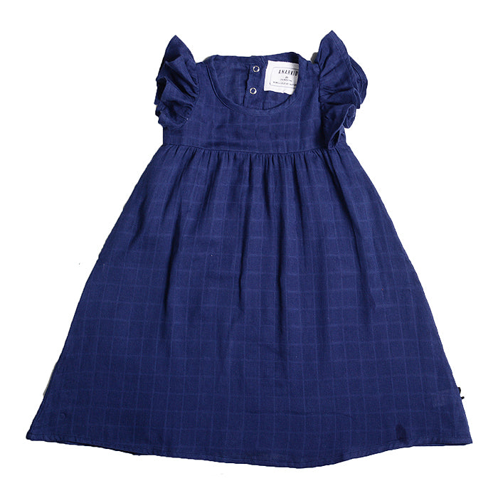 anarkid organic girl kids muslin princess line dress blue