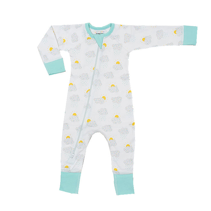 Clouds Organic Zip Romper