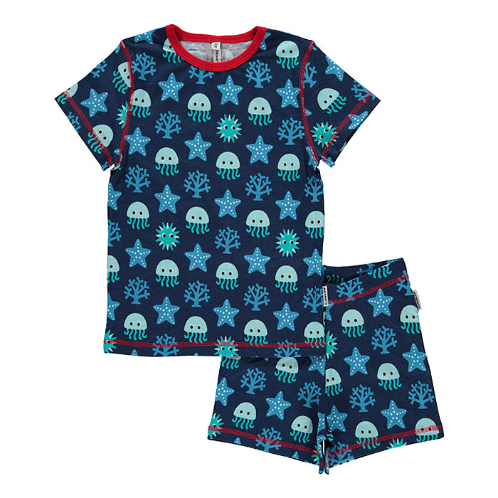 maxomorra kids deep sea blue pyjamas set