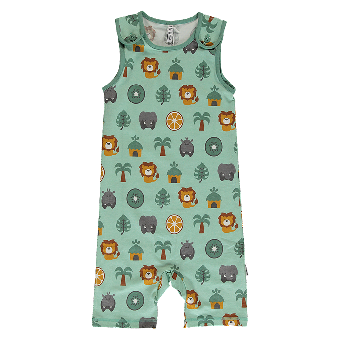 maxomorra kids organic jungle animals playsuit
