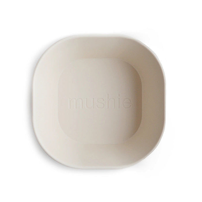 mushie kids square bowl dinnerware ivory