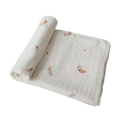 mushie organic muslin swaddle blanket flowers for baby