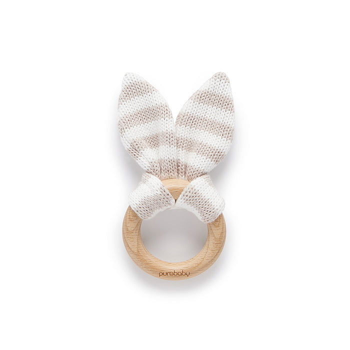 purebaby rabbit ear teether grey