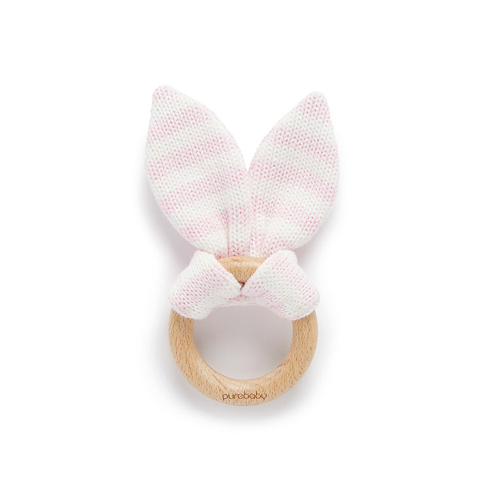 purebaby rabbit ear teether pink