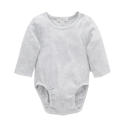 purebaby ribbed long sleeve bodysuit pale grey melange organic cotton baby